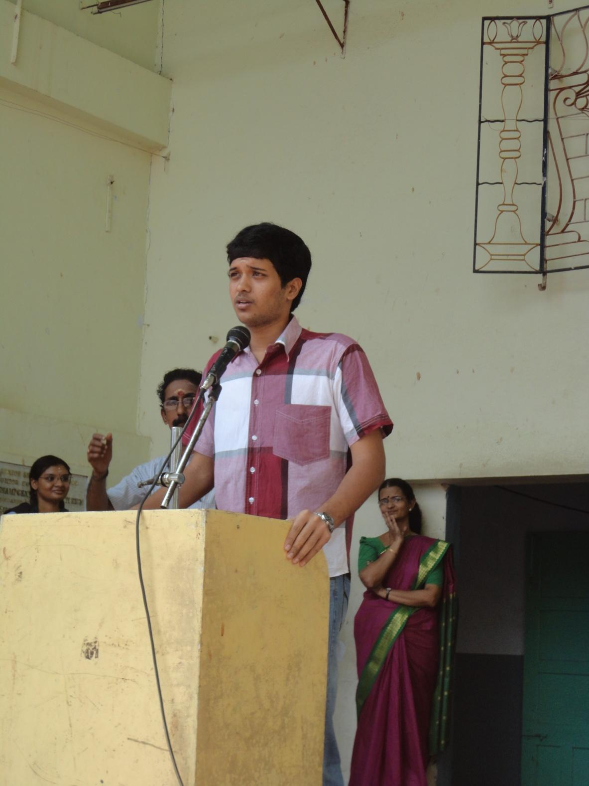 Mukund Ram addressing the school