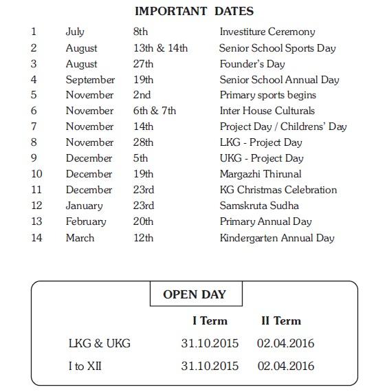 IMPORTANT DATES 2015