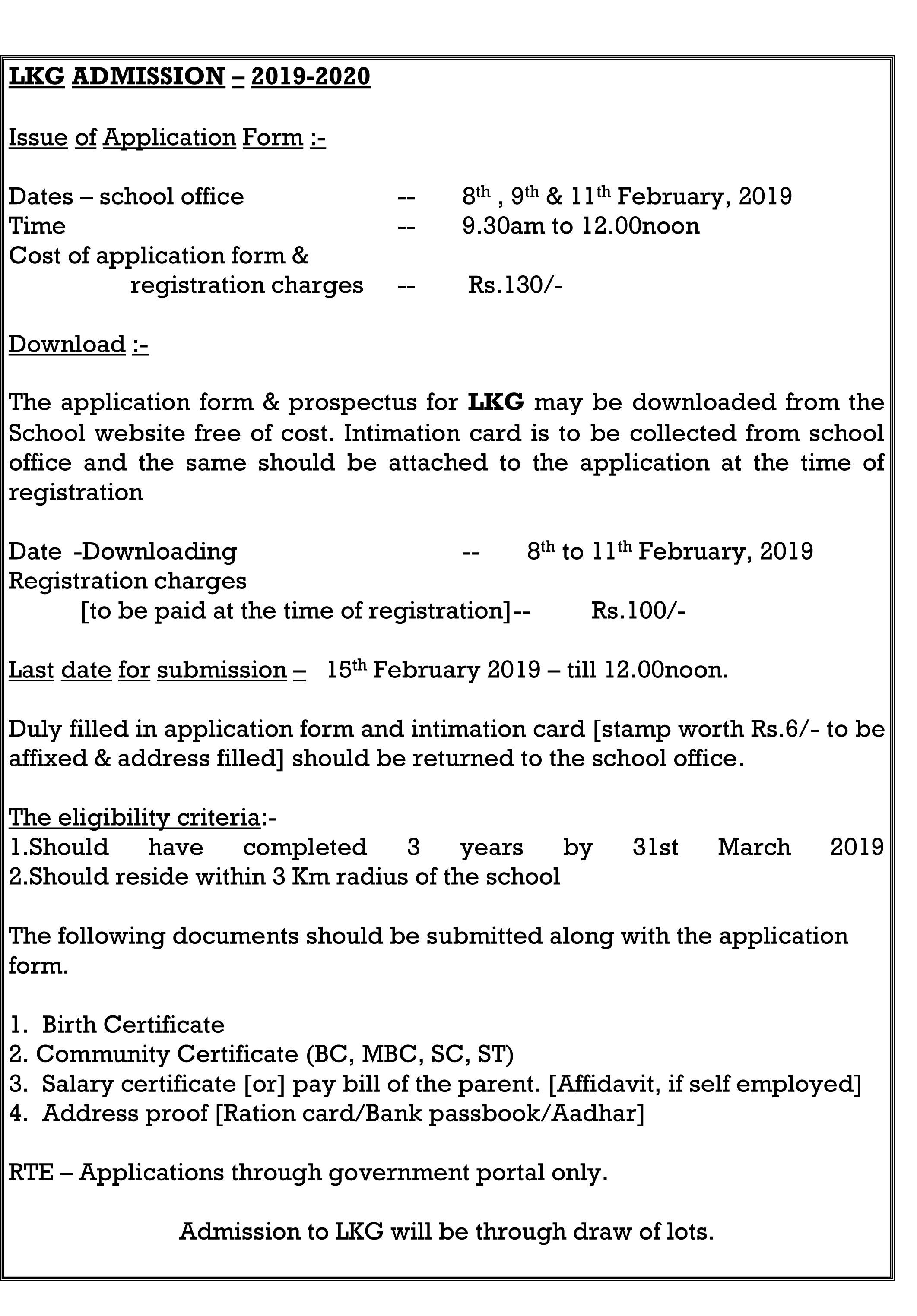LKG Admission Notification – 2019-2020